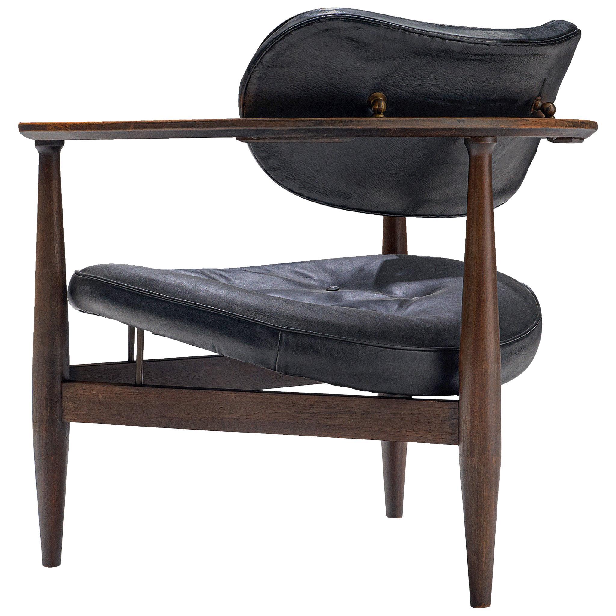 Restored Kor Aldershof Lounge Chair in Black Leather