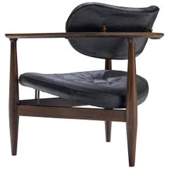 Restored Kor Aldershof Lounge Chair in Black Leather