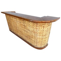 """Restored Large 95"""" Tropical Mahogany Top Bar with Woven Wicker Front, Circa 1940"""