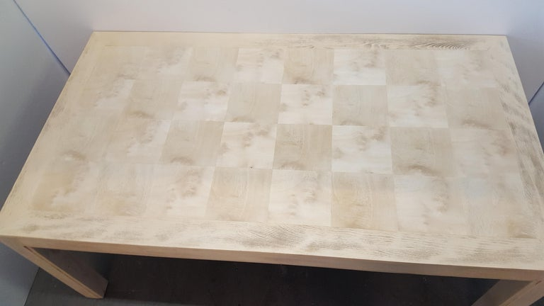Bleached Restored Large Parsons Style Mid-Century Dining Table For Sale