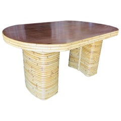 Restored Large Oval Stacked Rattan Dining Table with Mahogany Top