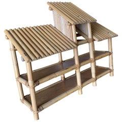 Restored Large Three-Tier Chinese Hut Rattan Wall Shelf with Slat Roof