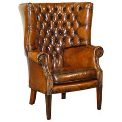 Restored Late Victorian Chesterfield Porters Wingback Armchair Brown Leather