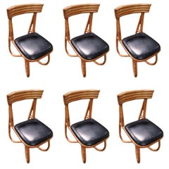 Restored Loop Leg Rattan Dining Side Chair, Set of Six, circa 1950