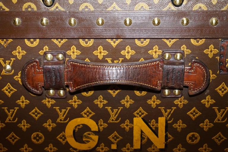 Restored Louis Vuitton 1920 Col Victor Jones 14th King Hussars Steamer Trunk For Sale 2