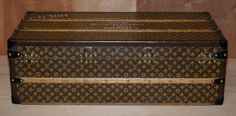 Restored Louis Vuitton 1920 Col Victor Jones 14th King Hussars Steamer Trunk For Sale 4