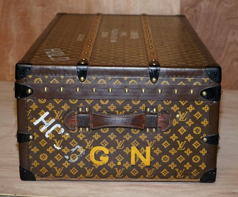 Restored Louis Vuitton 1920 Col Victor Jones 14th King Hussars Steamer Trunk For Sale 5