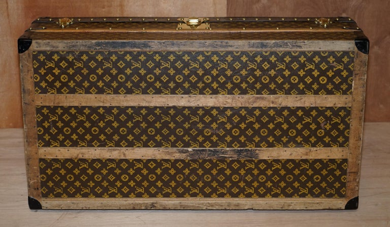 Restored Louis Vuitton 1920 Col Victor Jones 14th King Hussars Steamer Trunk For Sale 6