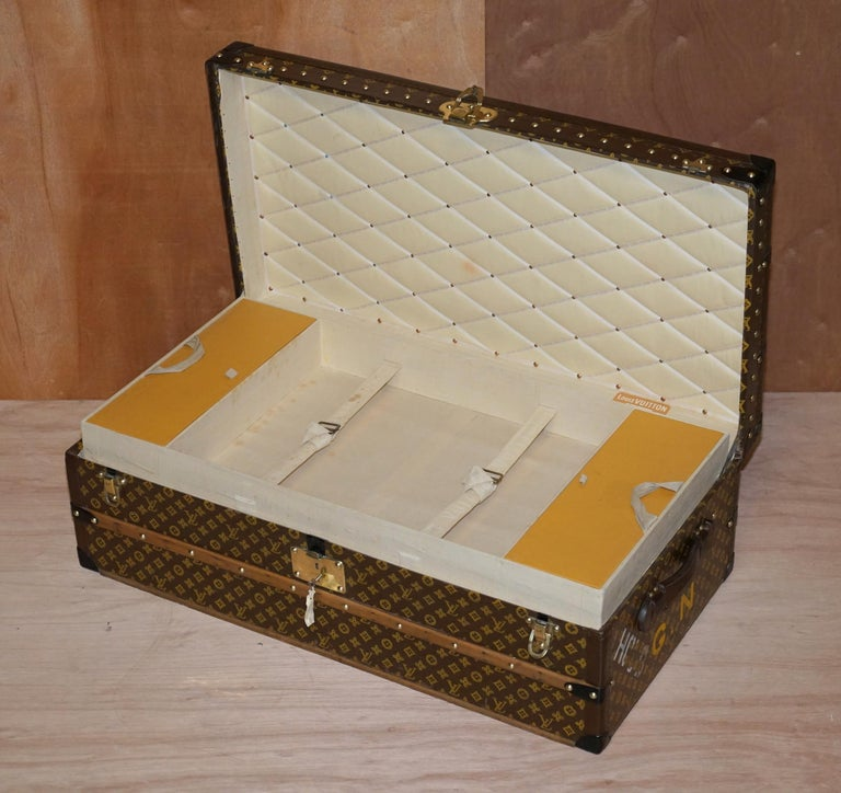 Restored Louis Vuitton 1920 Col Victor Jones 14th King Hussars Steamer Trunk For Sale 7