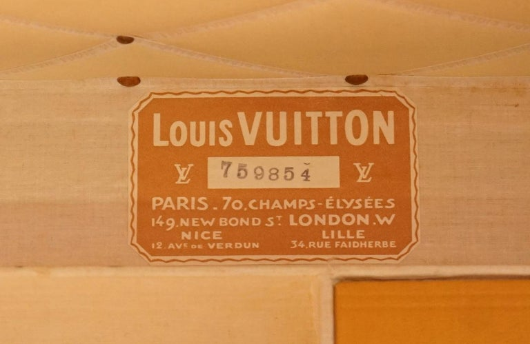 Restored Louis Vuitton 1920 Col Victor Jones 14th King Hussars Steamer Trunk For Sale 8