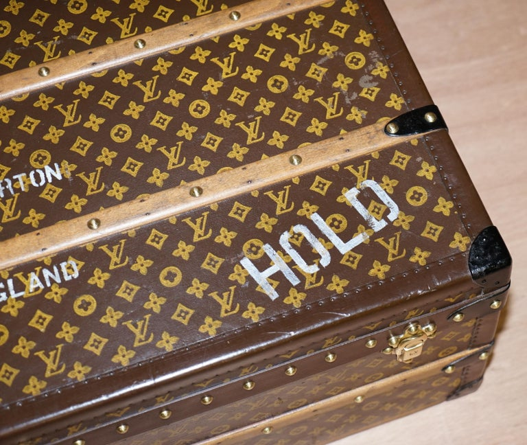 French Restored Louis Vuitton 1920 Col Victor Jones 14th King Hussars Steamer Trunk For Sale