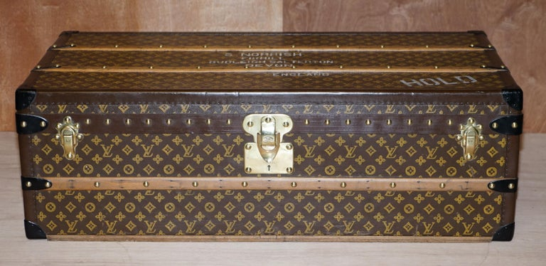 Hand-Crafted Restored Louis Vuitton 1920 Col Victor Jones 14th King Hussars Steamer Trunk For Sale