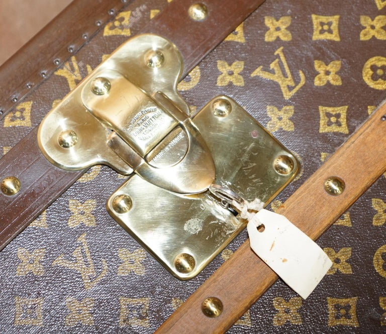 Restored Louis Vuitton 1920 Col Victor Jones 14th King Hussars Steamer Trunk In Excellent Condition For Sale In , Pulborough