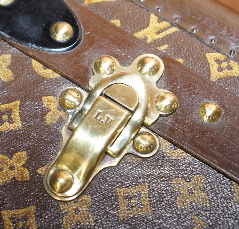 Steel Restored Louis Vuitton 1920 Col Victor Jones 14th King Hussars Steamer Trunk For Sale