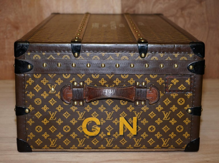 Restored Louis Vuitton 1920 Col Victor Jones 14th King Hussars Steamer Trunk For Sale 1