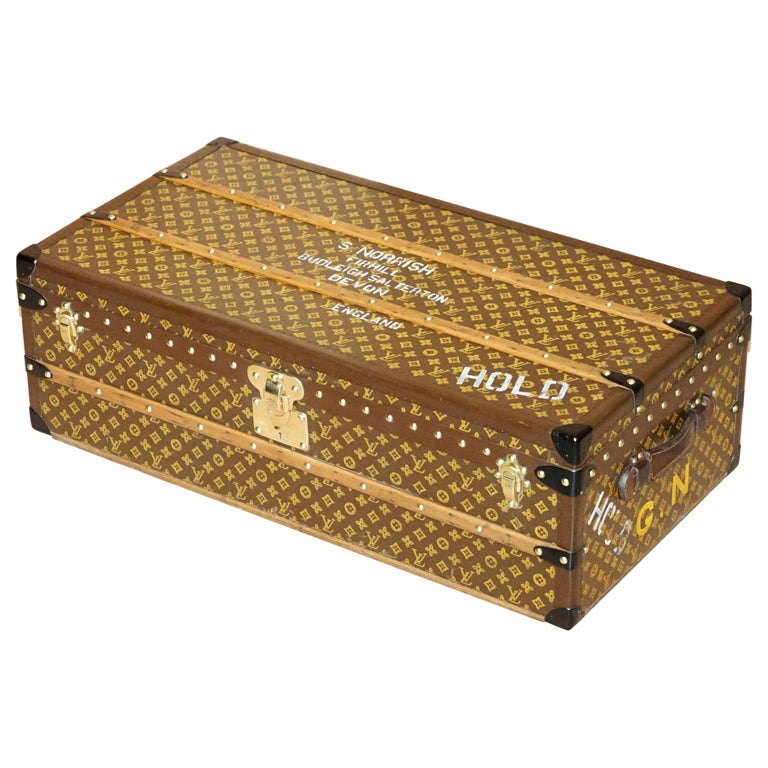 Restored Louis Vuitton 1920 Col Victor Jones 14th King Hussars Steamer Trunk For Sale