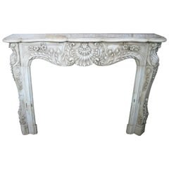 Restored Luis XV Style Aged White Marble Fireplace Mantle
