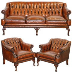 Restored Lutyen's Style Viceroy's Chesterfield Brown Leather Sofa and Armchairs