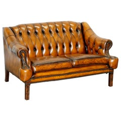 Restored Lutyen's Viceroy Style Chesterfield Brown Leather Hand Dyed 2-Seat Sofa