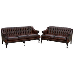 Restored Lutyen's Viceroy Style Chesterfield Brown Leather Hand Dyed Sofa Suite