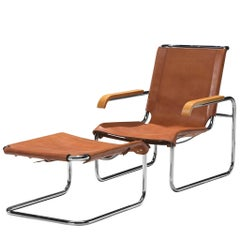 Restored Marcel Breuer for Thonet Cognac Leather Lounge Chair with Ottoman