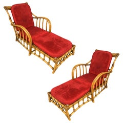 Restored Midcentury Arched Arms Chaise Lounge Chair with Foot Rest, Pair
