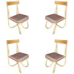 """Restored Mid-Century Bent """"Loop"""" Rattan Dining Side Chair, Set of Four"""