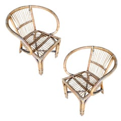Restored Midcentury Hoop Rattan Armchair with Stick Rattan Seat, Pair