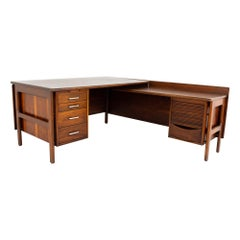 Restored Mid Century L Shaped Desk with Caned Back