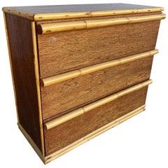 Restored Midcentury Mahogany Lowboy Dresser with Rattan Pulls