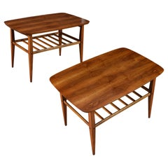 Restored Mid-Century Modern Lane Accent Tiered Walnut End Tables