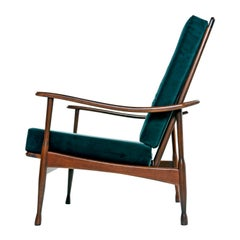 Restored Mid-Century Modern Solid Maple Frame Lounge Chair in Green Velvet