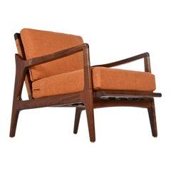 Restored Mid-Century Modern Walnut Lounge Chair with New Orange Fabric
