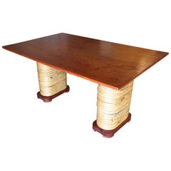 Restored Midcentury Rattan and Double Mahogany Dining Table with Stacked Base
