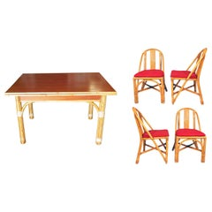 Restored Midcentury Rattan and Mahogany Dining Set