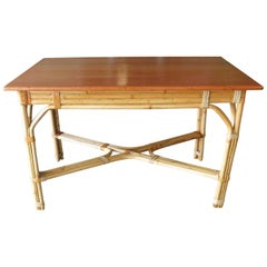 Restored Midcentury Rattan and Mahogany Dining Table