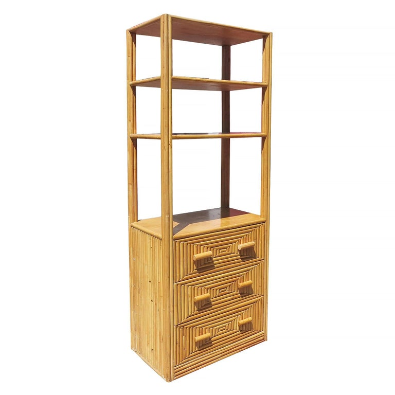 American Restored Midcentury Rattan and Mahogany Display Cabinet with Drawers For Sale