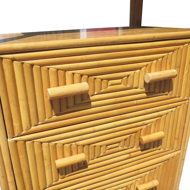 Restored Midcentury Rattan and Mahogany Display Cabinet with Drawers For Sale 2