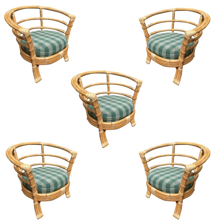 Single strand rattan barrel back armchair with skeleton arms and flannel seat. Back Cushion included but not pictured.  Restored to new for you.  All rattan, bamboo and wicker furniture has been painstakingly refurbished to the highest standards