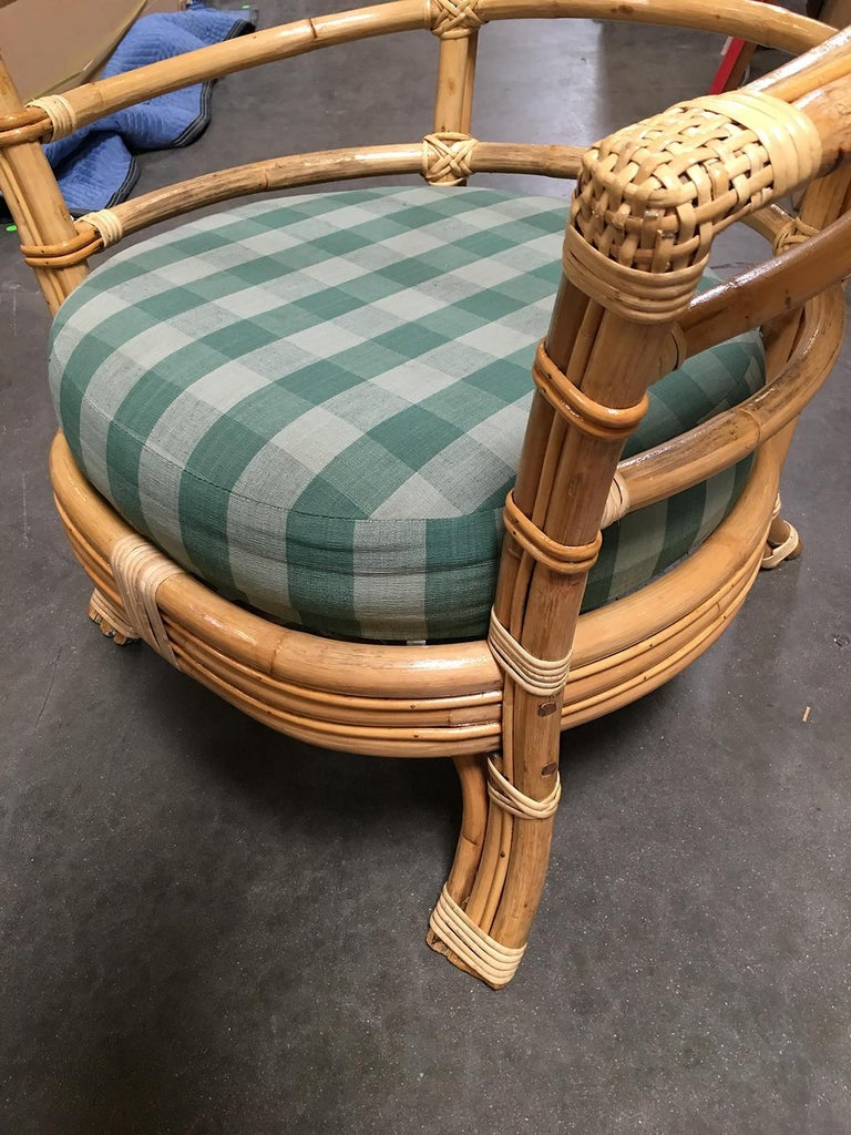 American Restored Midcentury Rattan Barrel Shaped Armchair with Skeleton Arms For Sale
