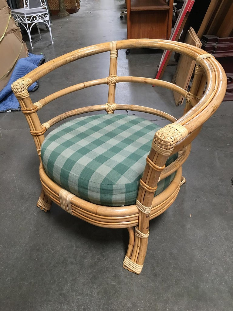 Restored Midcentury Rattan Barrel Shaped Armchair with Skeleton Arms In Excellent Condition For Sale In Van Nuys, CA