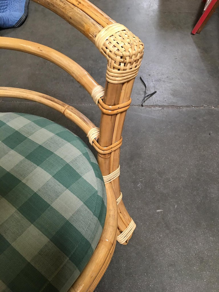 Mid-20th Century Restored Midcentury Rattan Barrel Shaped Armchair with Skeleton Arms For Sale