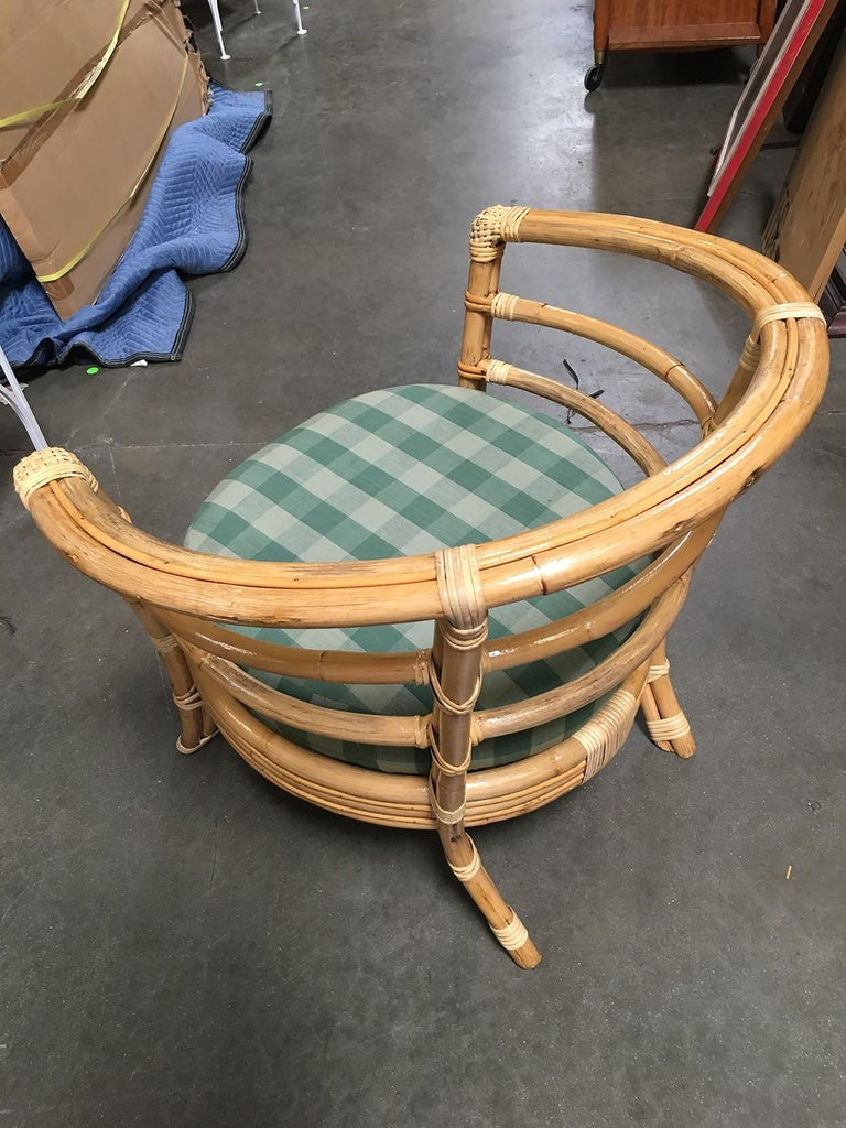 Restored Midcentury Rattan Barrel Shaped Armchair with Skeleton Arms For Sale 1