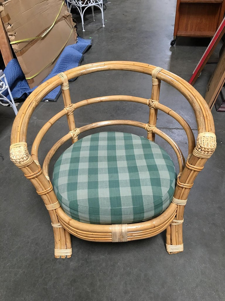 Restored Midcentury Rattan Barrel Shaped Armchair with Skeleton Arms For Sale 3