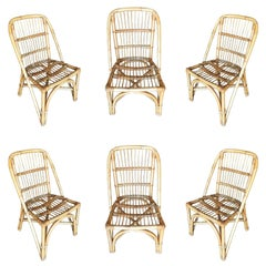 Restored Midcentury Rattan Dining Side Chair with Stick Rattan Seat, Set of Four