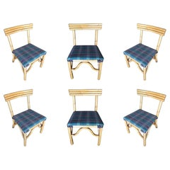 Restored Midcentury Rattan Dining Side Chair with Three-Strand Back, Set of Six