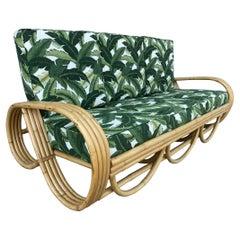 Restored Mid Century Reverse Pretzel Rattan Sofa and Lounge Chair Set
