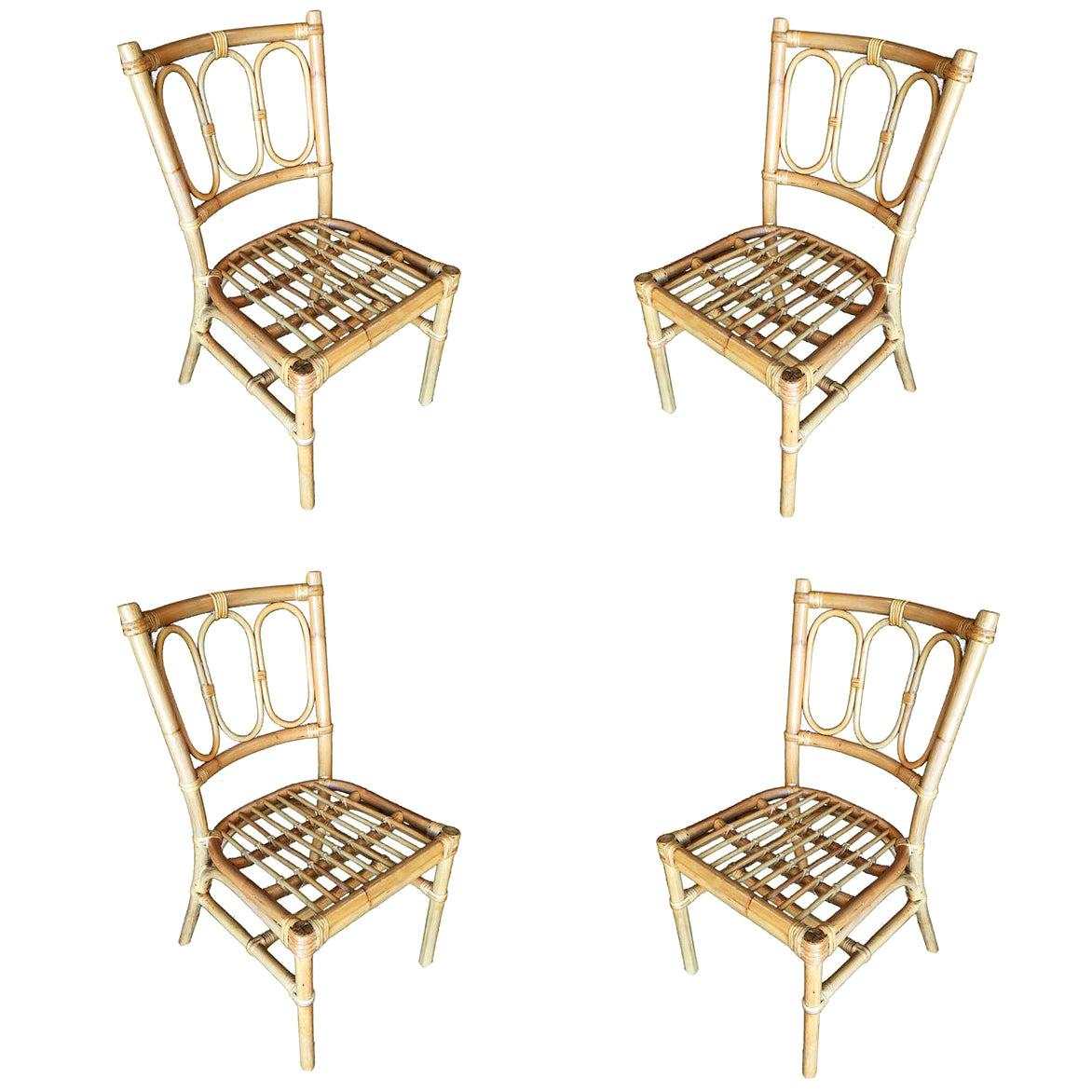 Restored Midcentury Three Ring Rattan Dining Side Chair, Set of Four