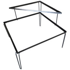 Restored Midcentury Woodard Two-Tier Glass Top Iron Outdoor/Patio Side Table