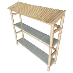 Restored Midcentury Chinese Hut Rattan Wall Shelf with Slat Roof
